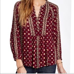 Lucky Brand Shiloh Printed Peasant Top